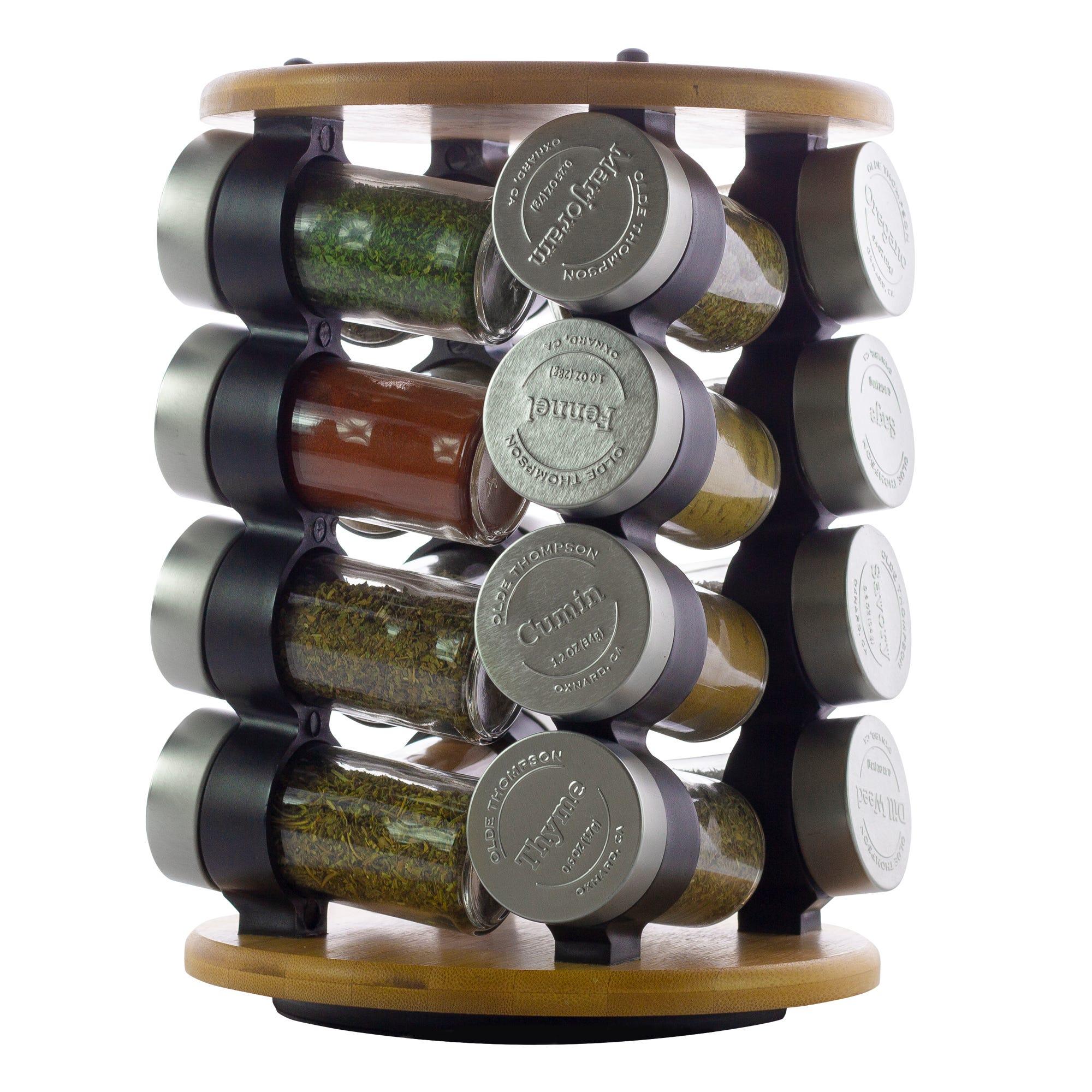 Especiero de bambú giratorio Olde Thompson para 16 frascos