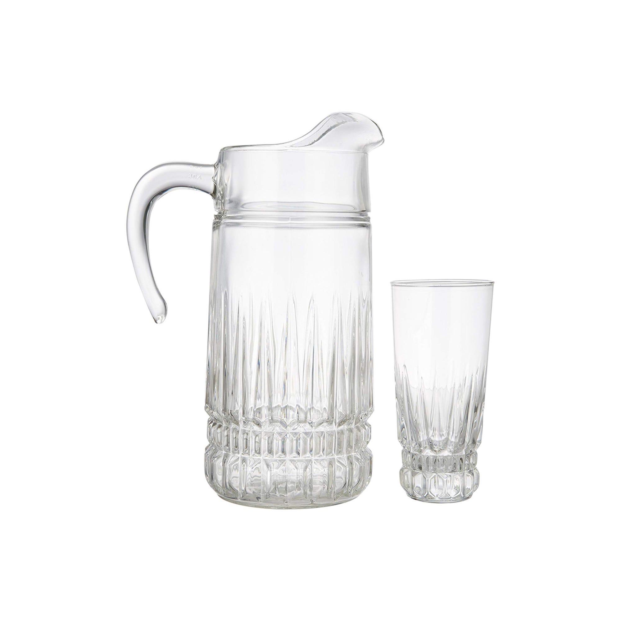 Jarra de vidrio con 6 Vasos de vidrio Imperator