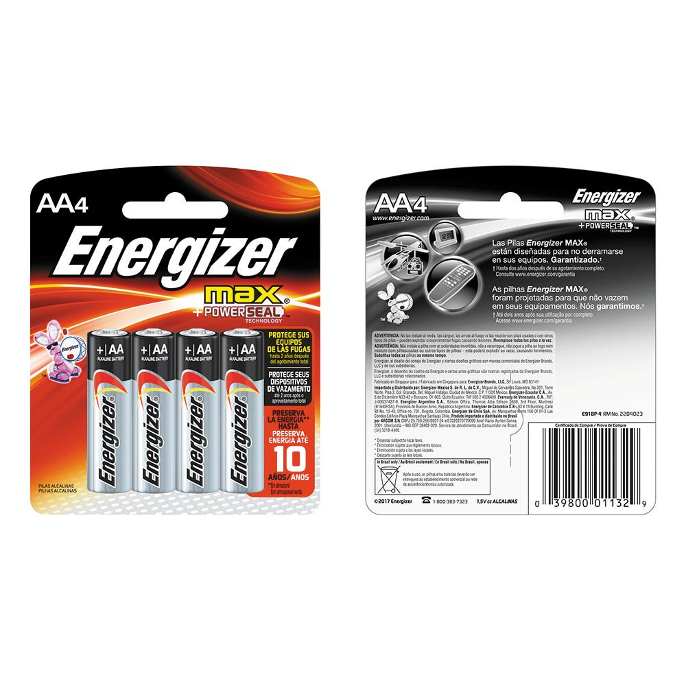 Pilas alcalinas AA de 1.5 voltios, Energizer® Max, Paquete de 4 pzas.