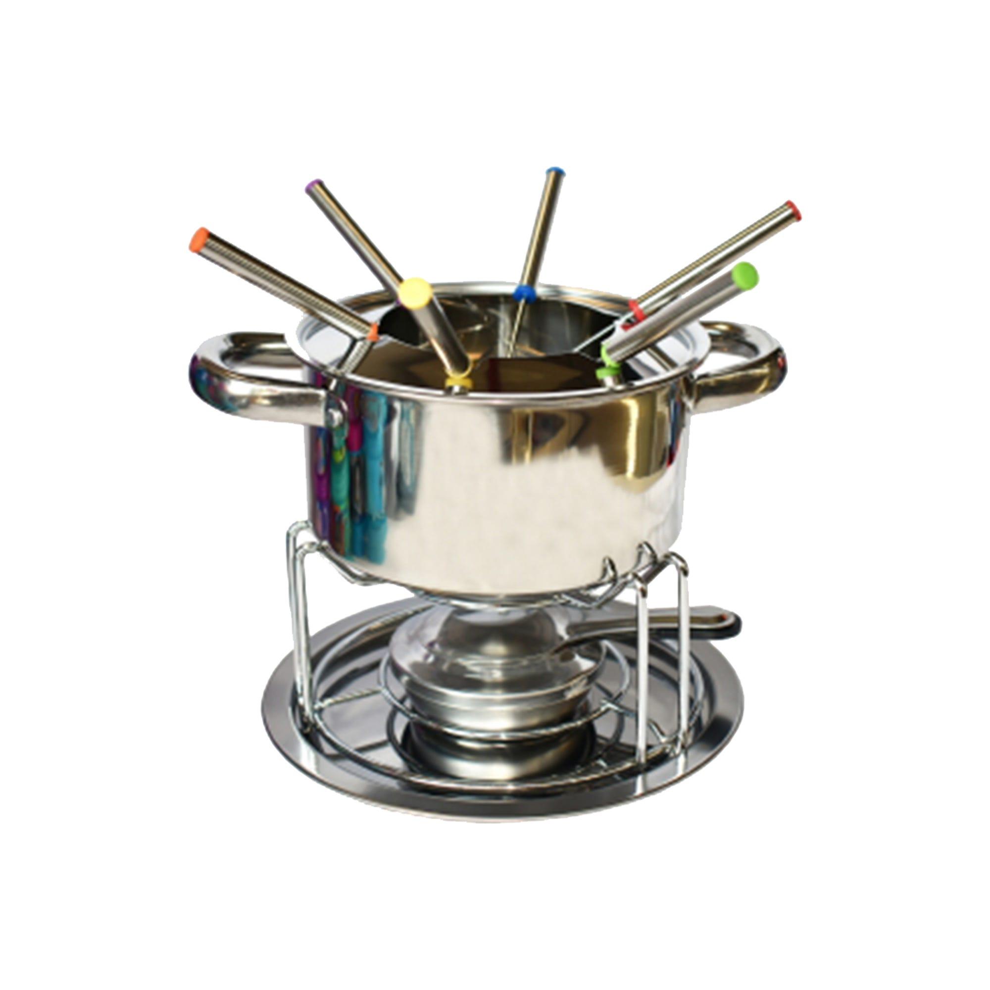Fondue de acero inoxidable TOP choice® con base de metal, Set de 12 piezas