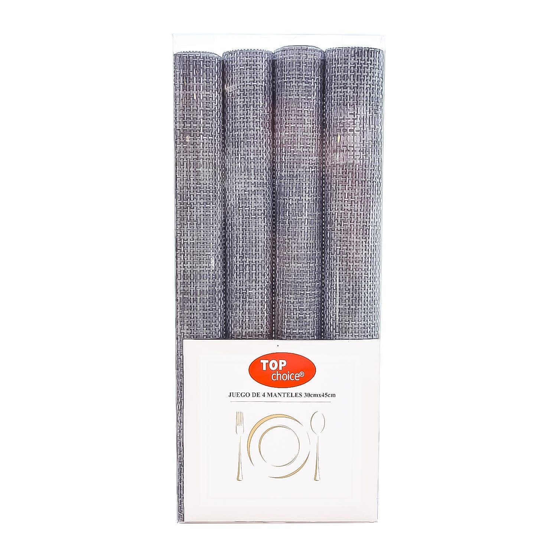 Manteles individuales de nylon Top Choice® color gris, Set de 4 pzas.