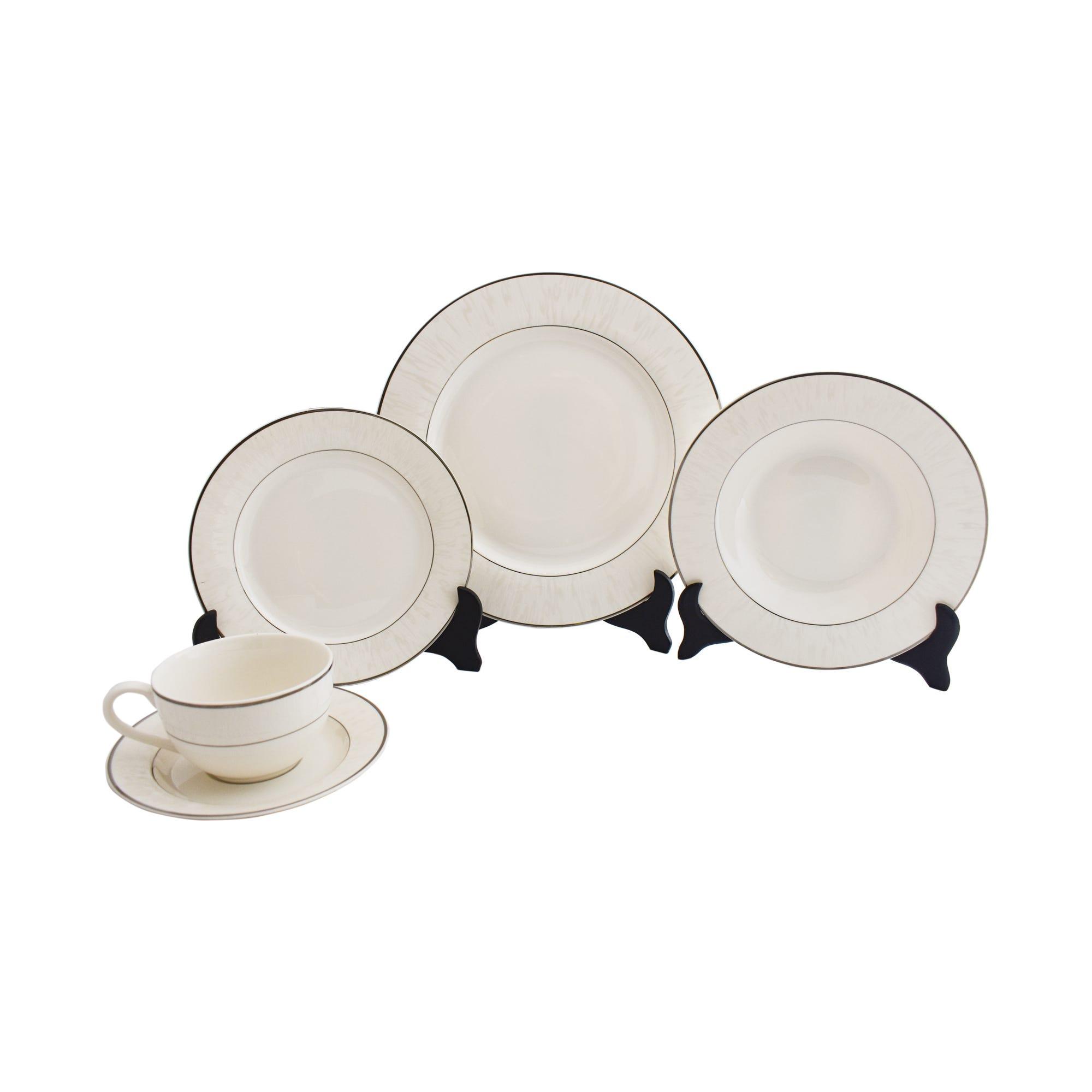 Vajilla de porcelana con doble borde, Set de 30 piezas