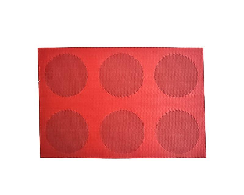 Mantel individual de poliéster con círculos color rojo