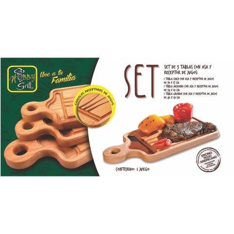 Set de tablas con asa y receptor de jugos, Hobby Grill 3 piezas