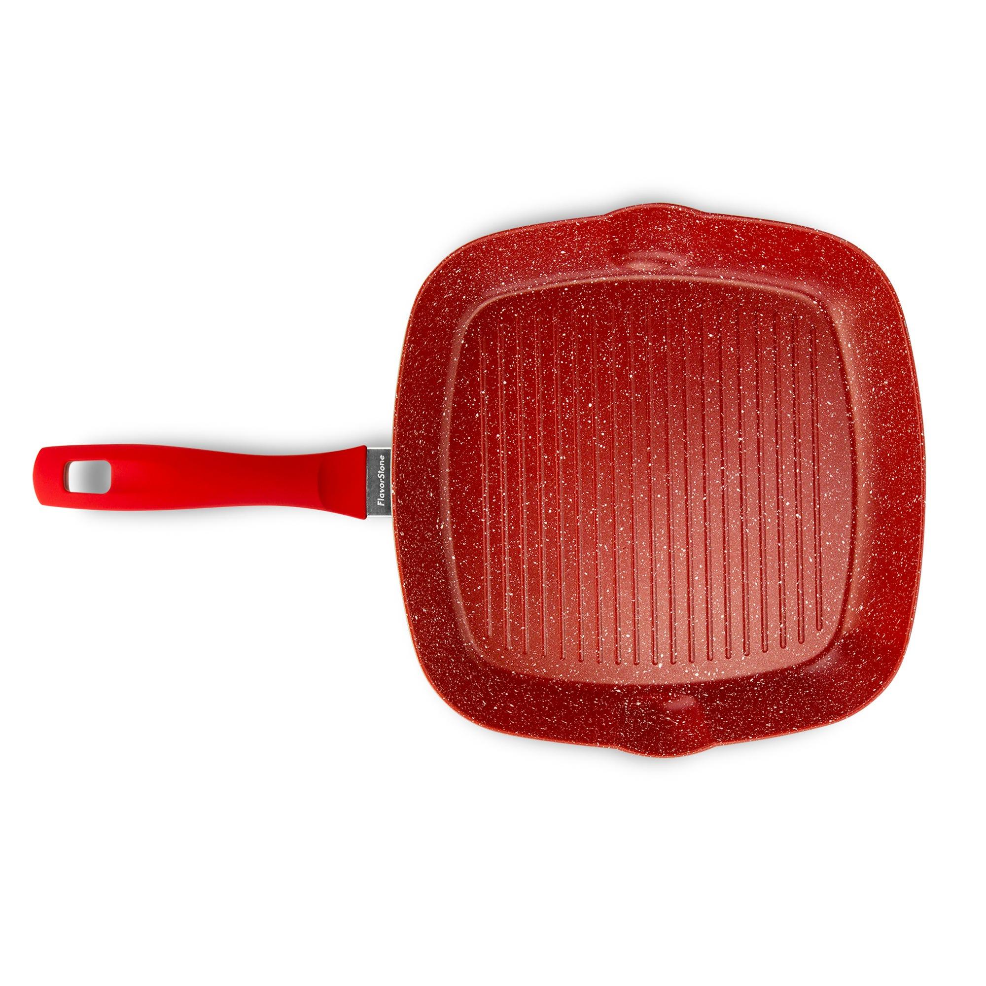 Sartén grill Smarten Flavor Stone de 28 cm en rojo