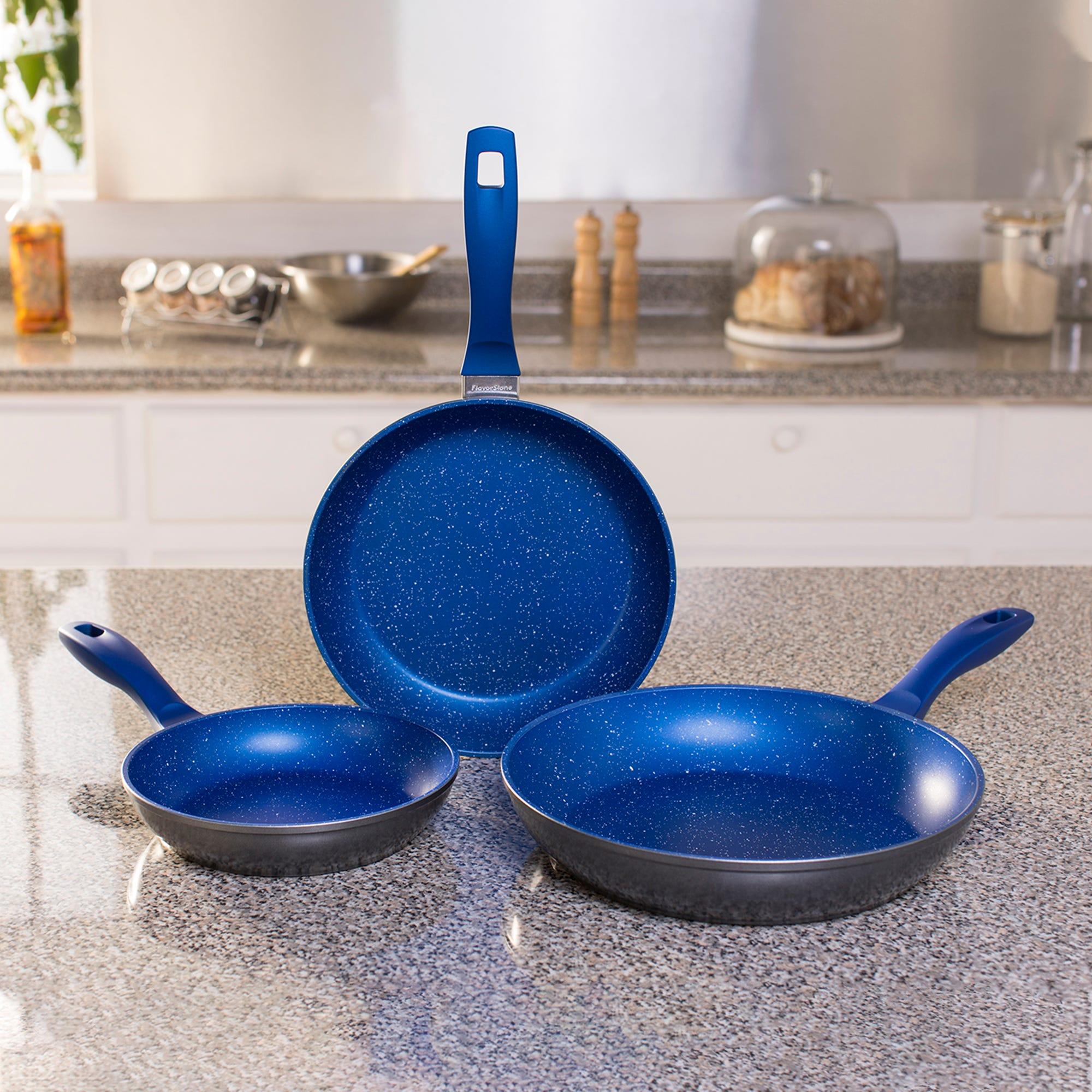 Set de sartenes para saltear Flavor Stone color azul, 3 piezas