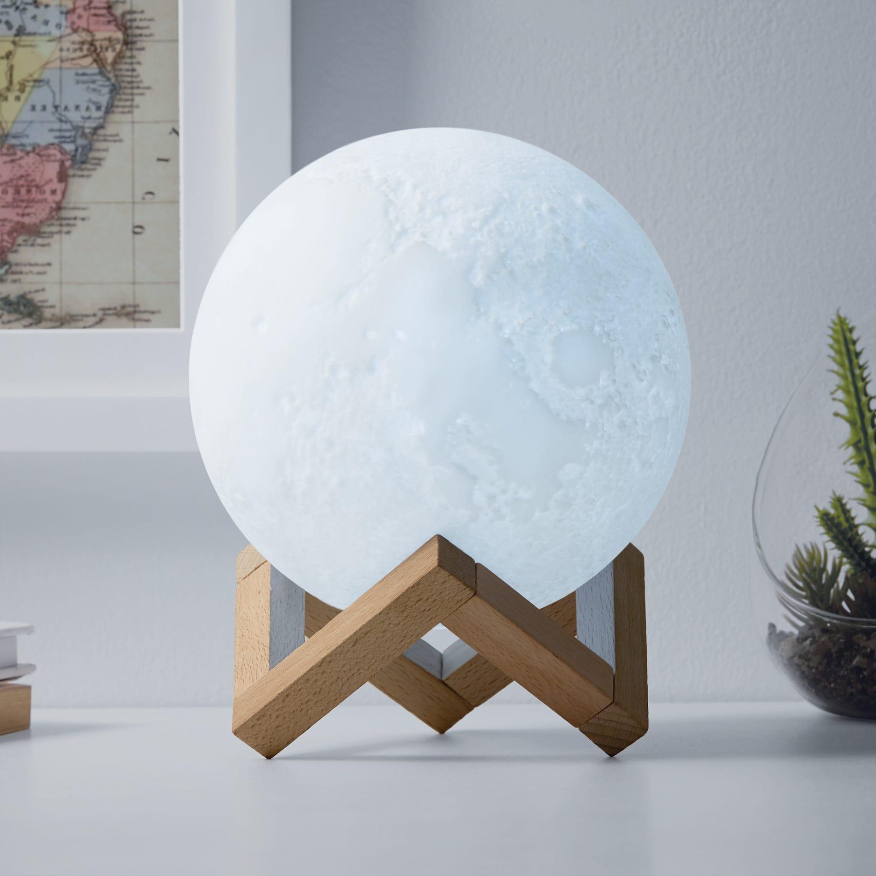 Redlemon® Lámpara LED de luna con base de madera