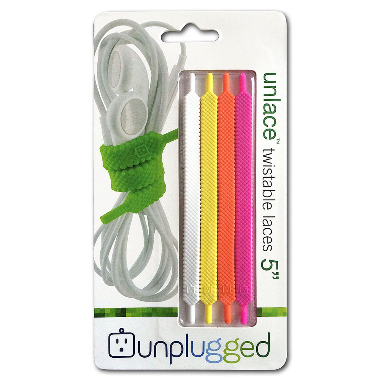 Organizadores de cables Unplugged Unlace™ de 12.49 cm en rosa/naranja/amarillo/blanco, Set de 4
