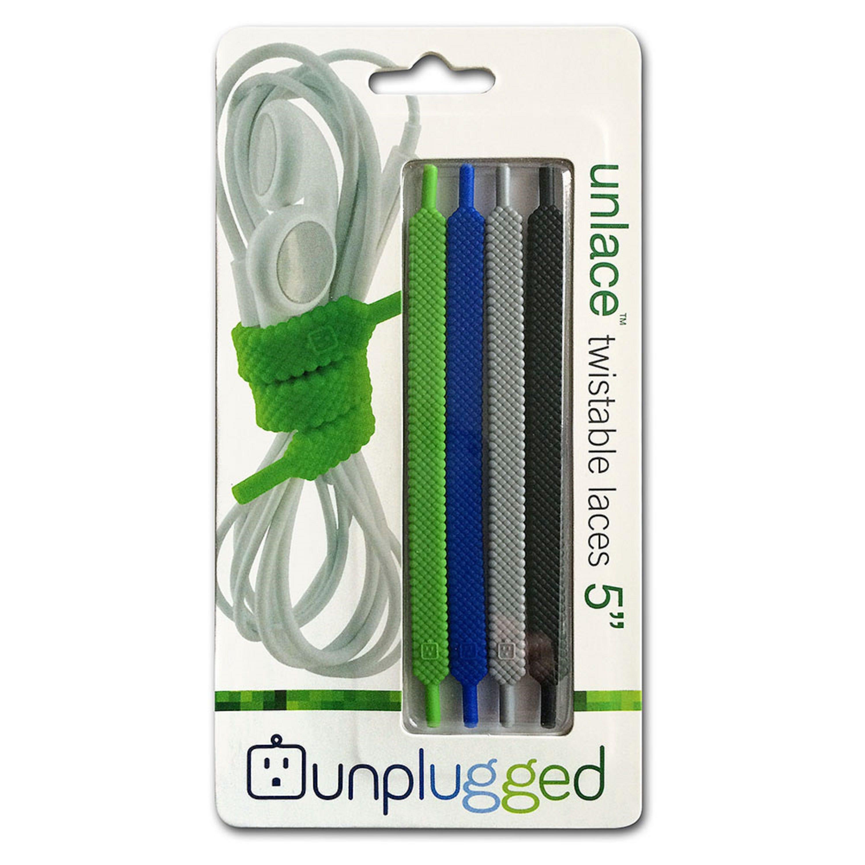 Organizadores de cables de 12.49 cm Unplugged Unlace™ en negro/gris/azul/verde, Set de 4