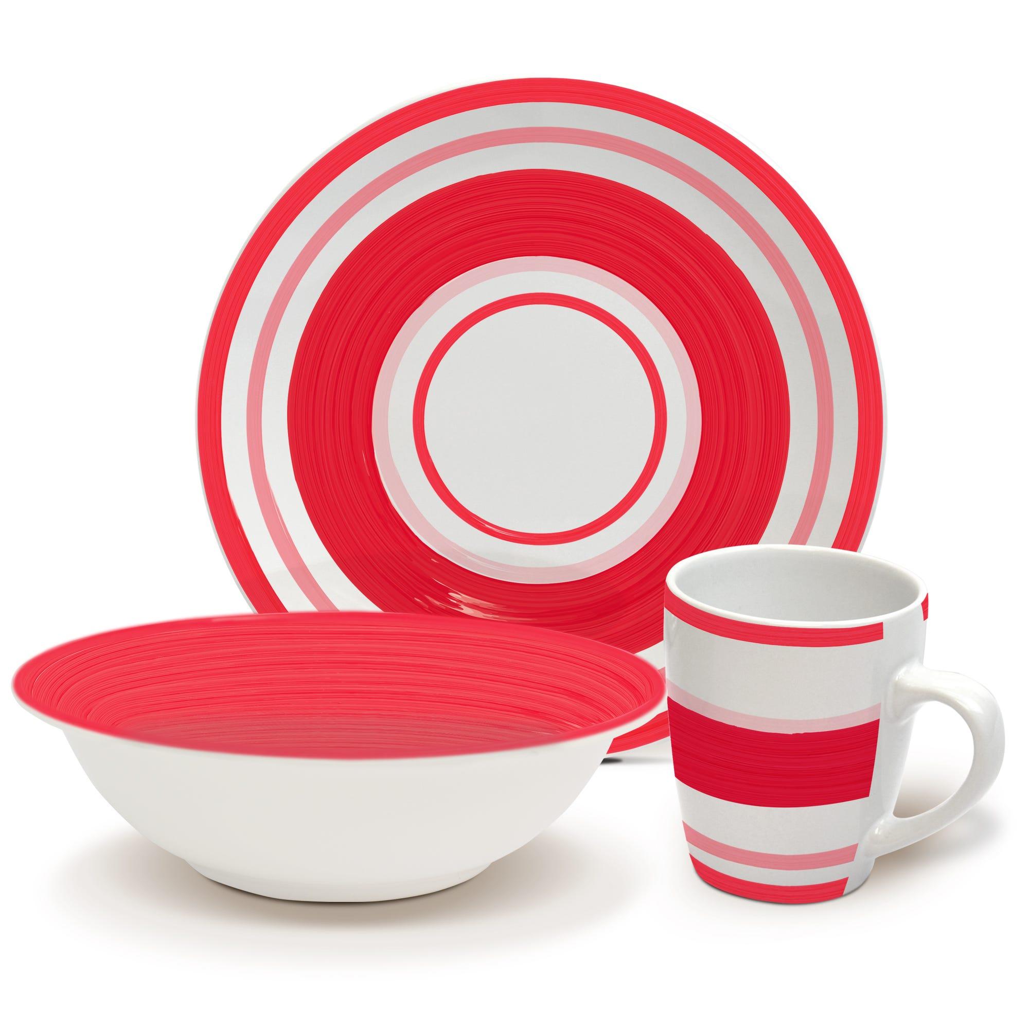Vajilla de cerámica Home Gallery color rojo, Set de 12 piezas