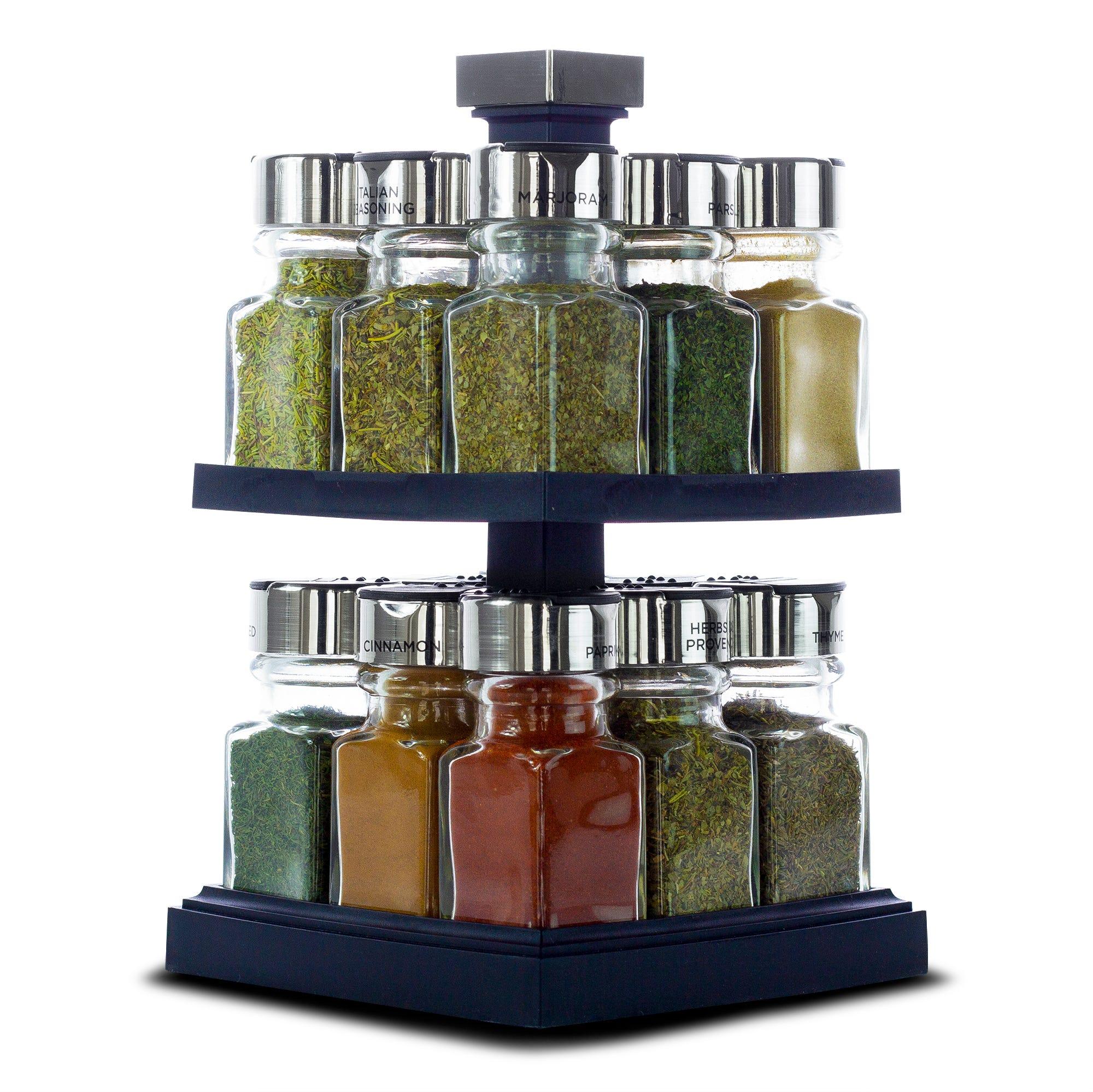 Especiero de vidrio Olde Thompson® giratorio de 2 niveles con 16 especias
