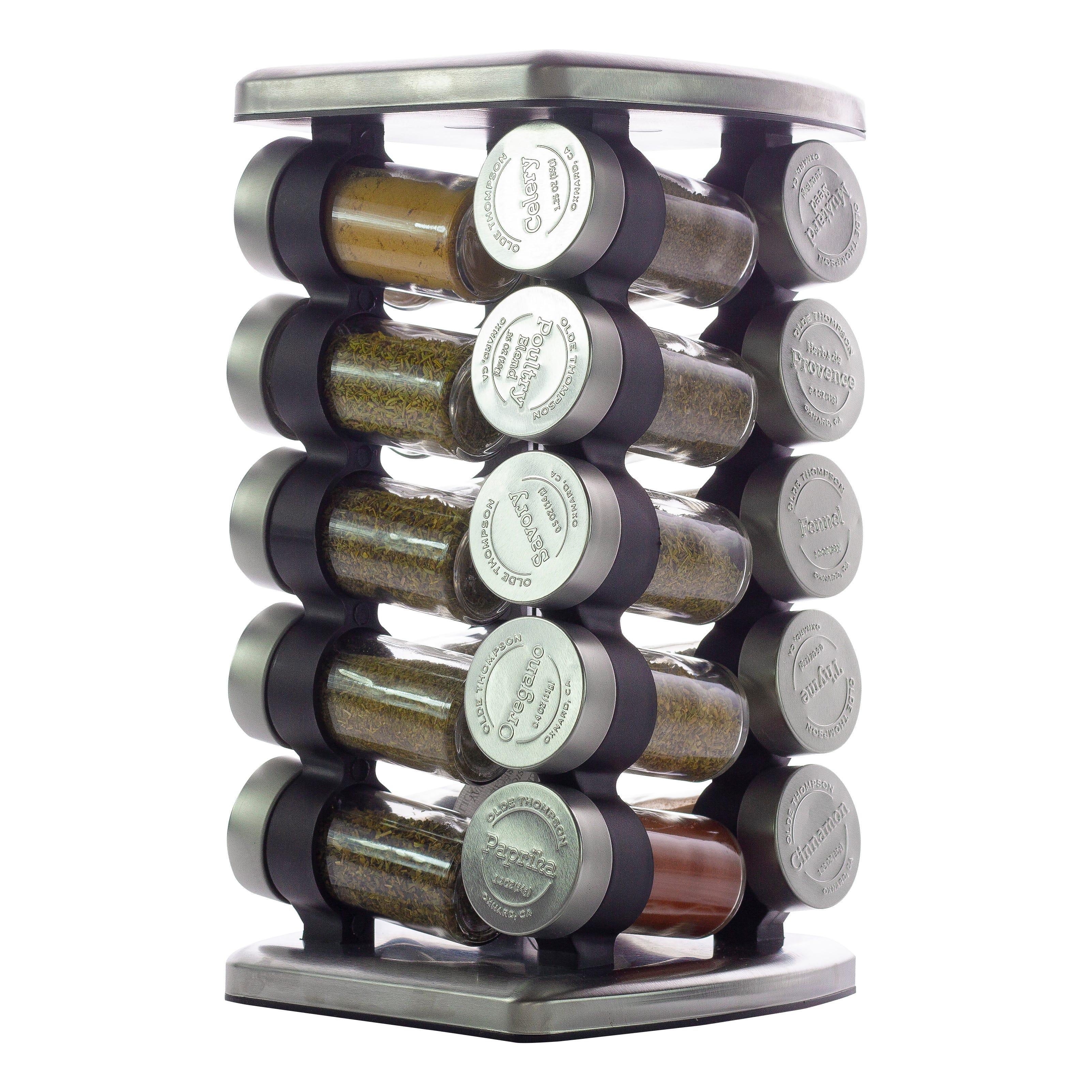 Especiero de acero inoxidable Olde Thompson® giratorio con 20 frascos