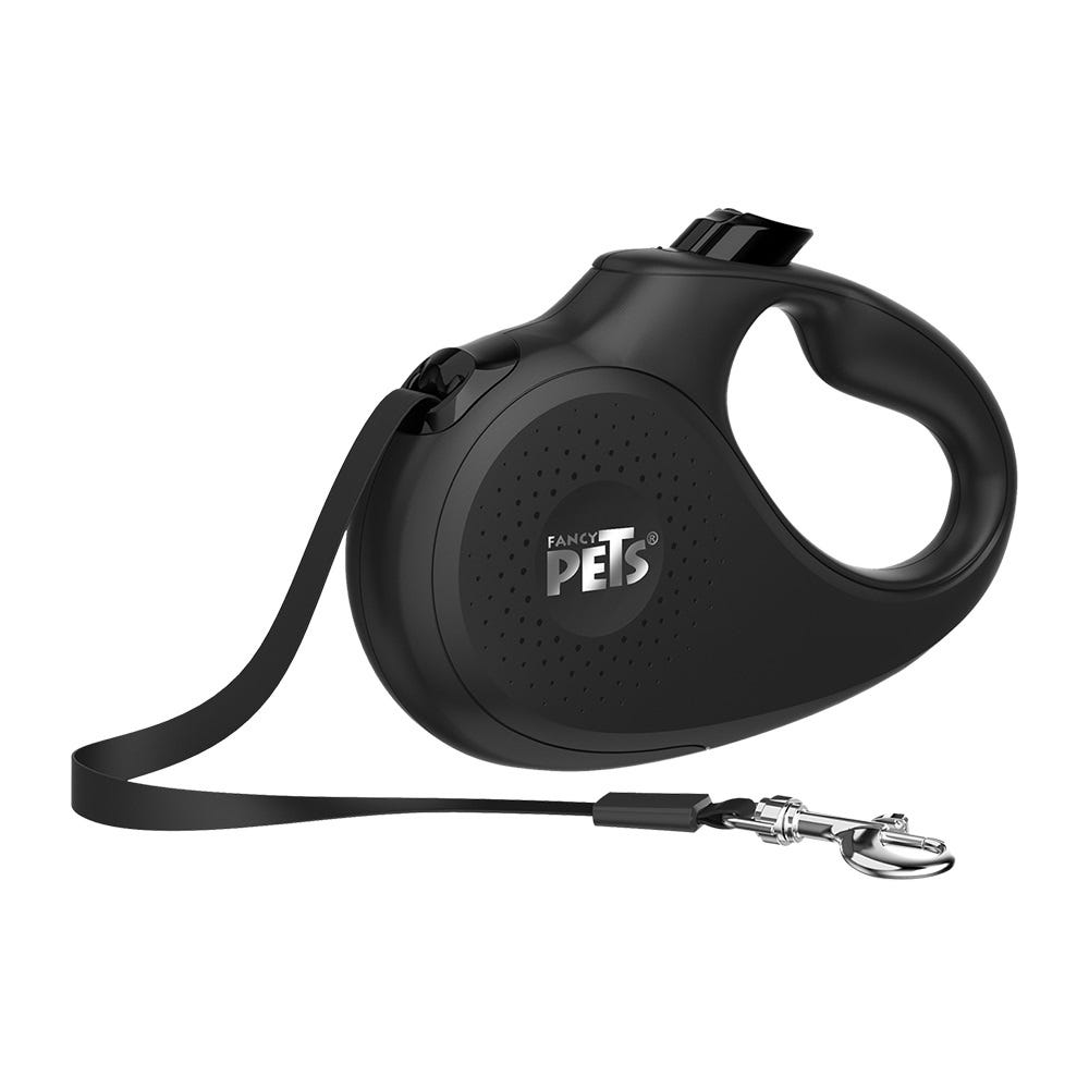 Correa retráctil mediana de nylon Fancy Pets® color negro