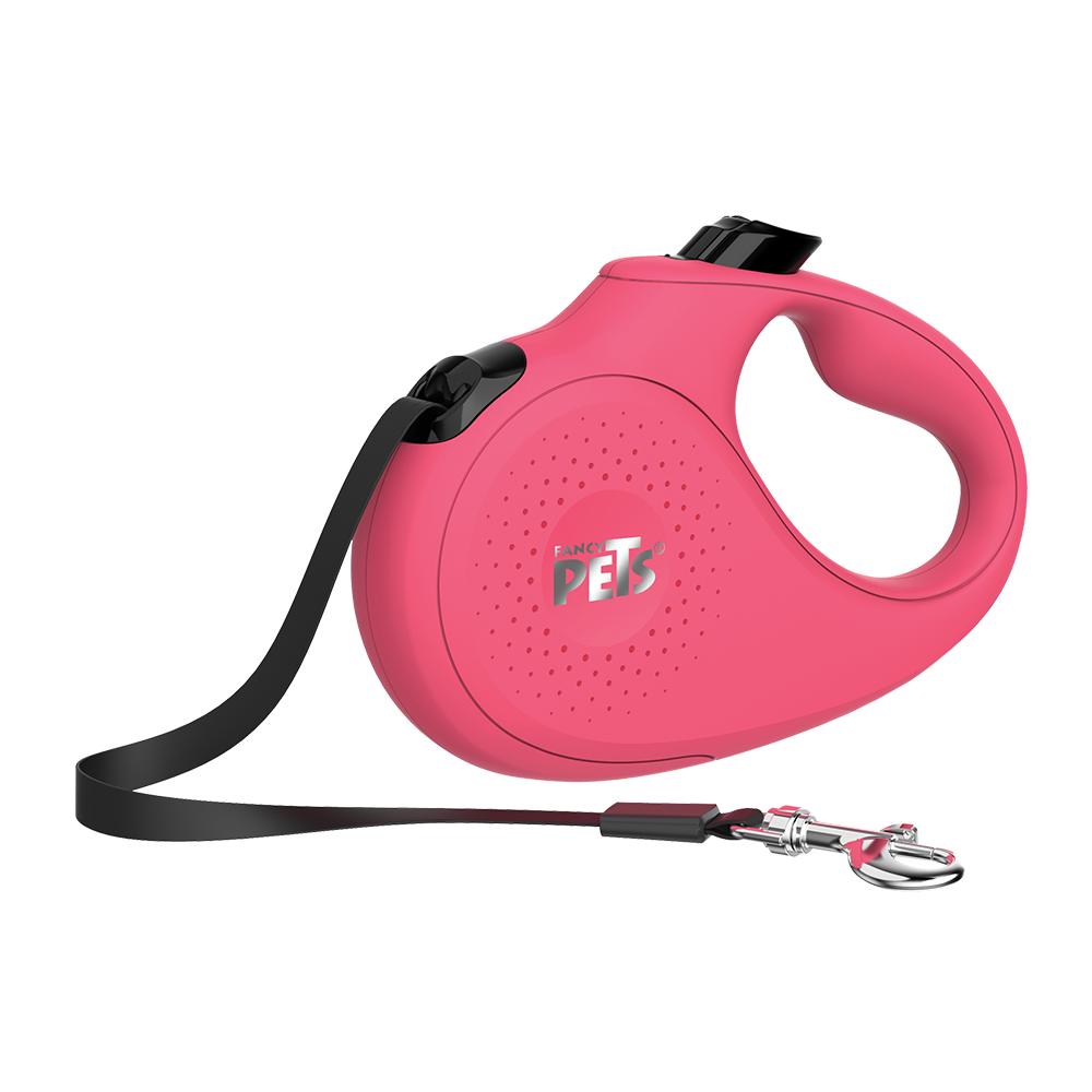 Correa retráctil mediana de nylon Fancy Pets® color rosa