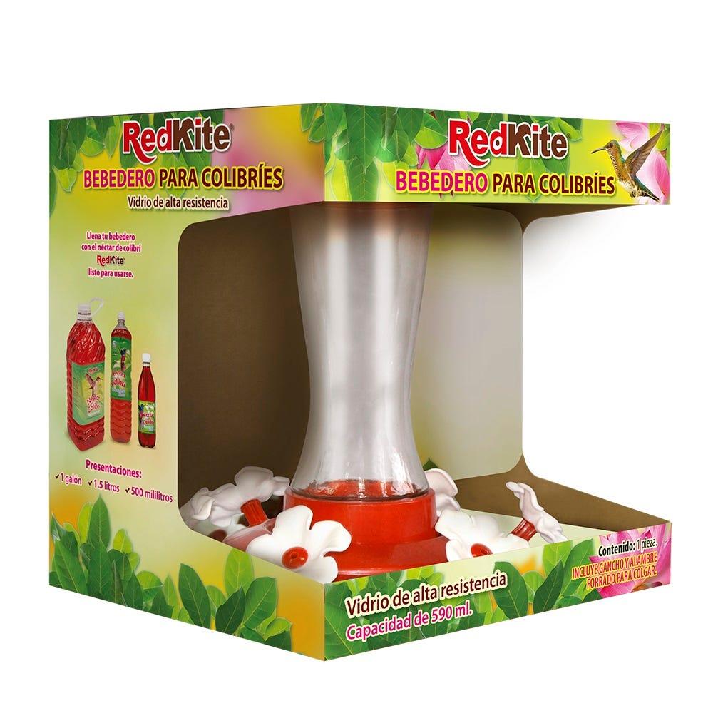 Bebedero de vidrio para colibríes Redkite®, de 590 mL