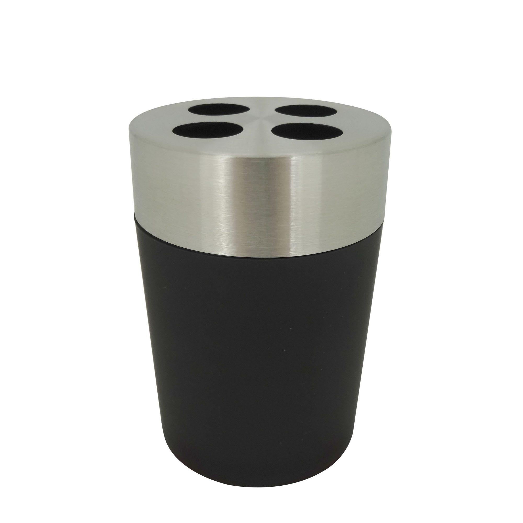 Portacepillos de dientes Namaro Design™, con tapa de acero inoxidable en negro