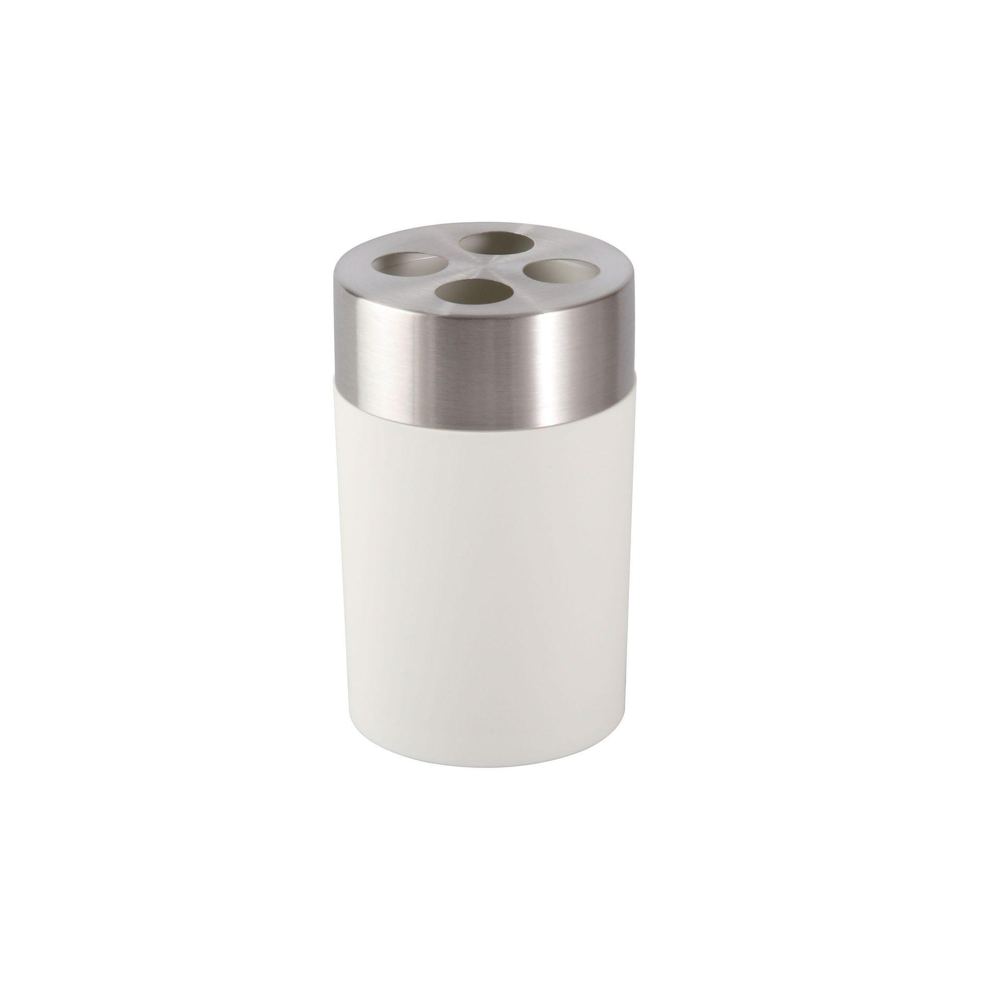 Portacepillos de dientes Namaro Design™, con tapa de acero inoxidable en blanco