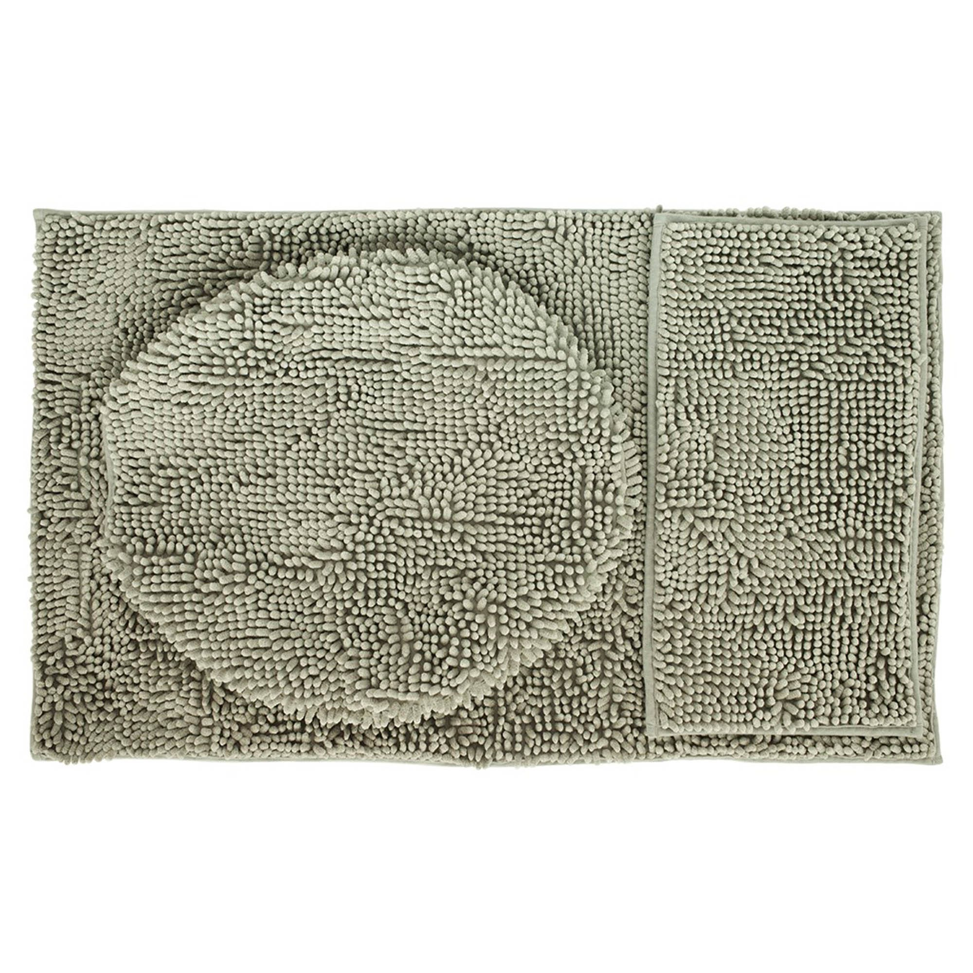 Juego de baño Set Silk Deco Express en gris claro, 3 piezas