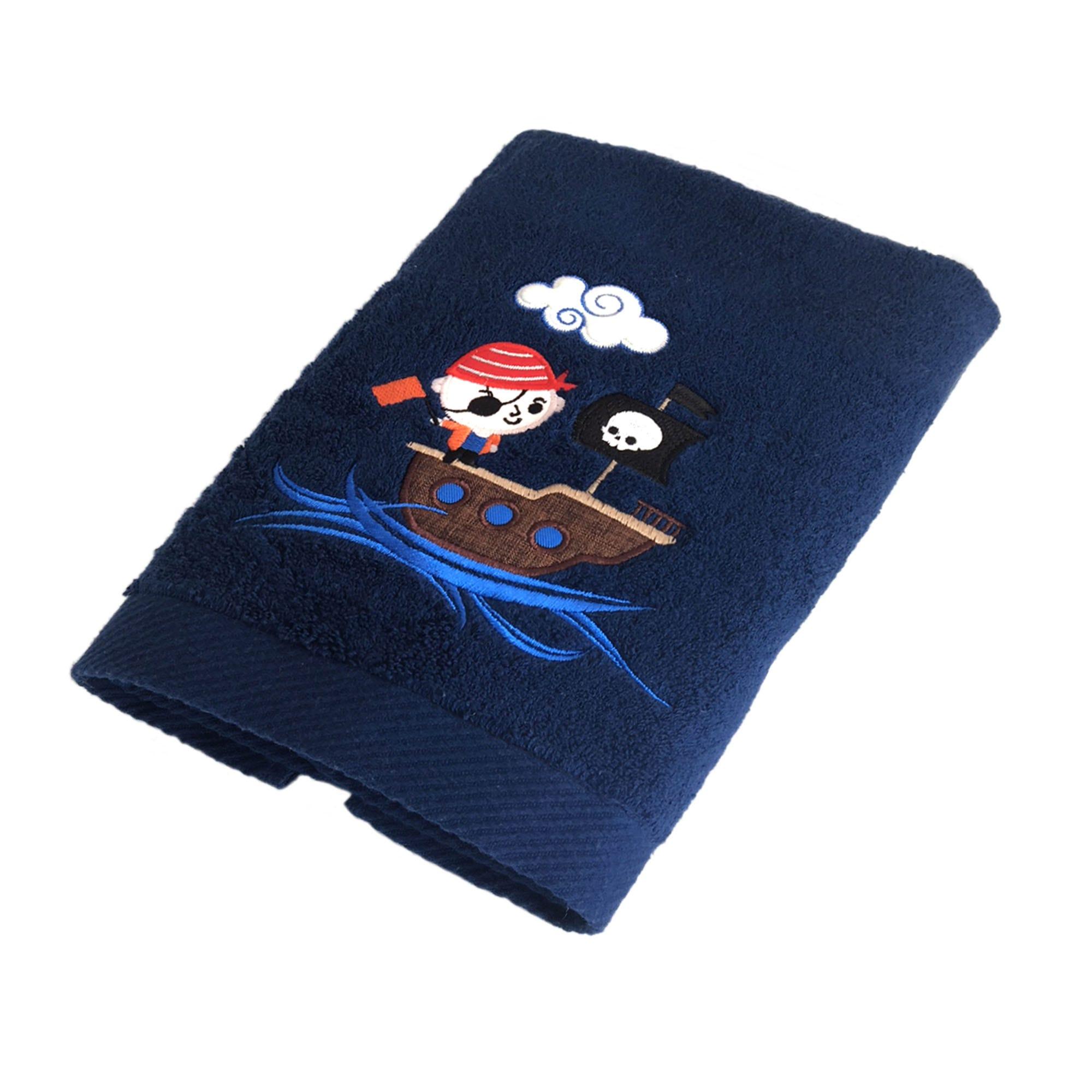 Bata de baño infantil Pirate Calatea con bordado en azul