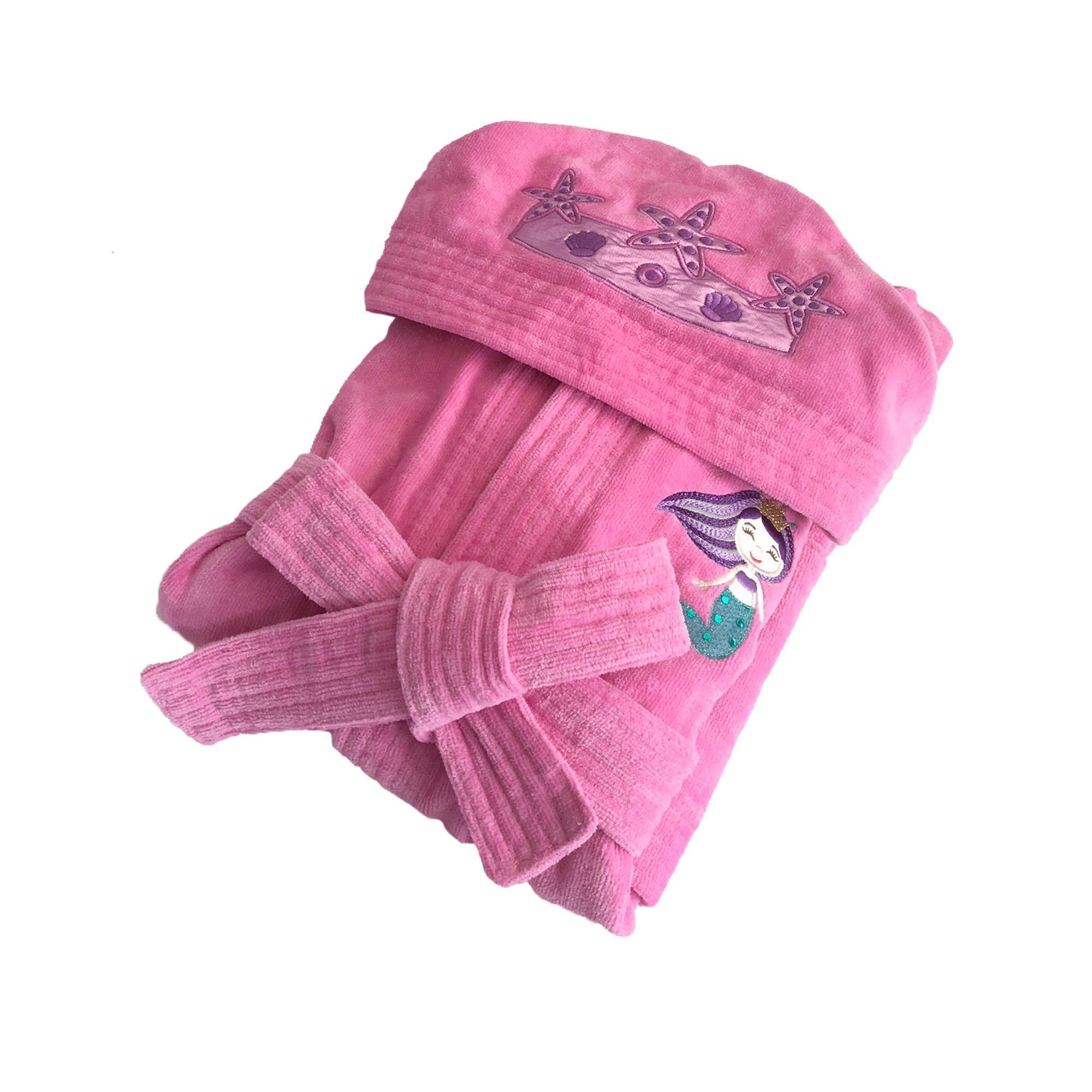 Bata de baño infantil Love Sea Calatea con bordado en rosa