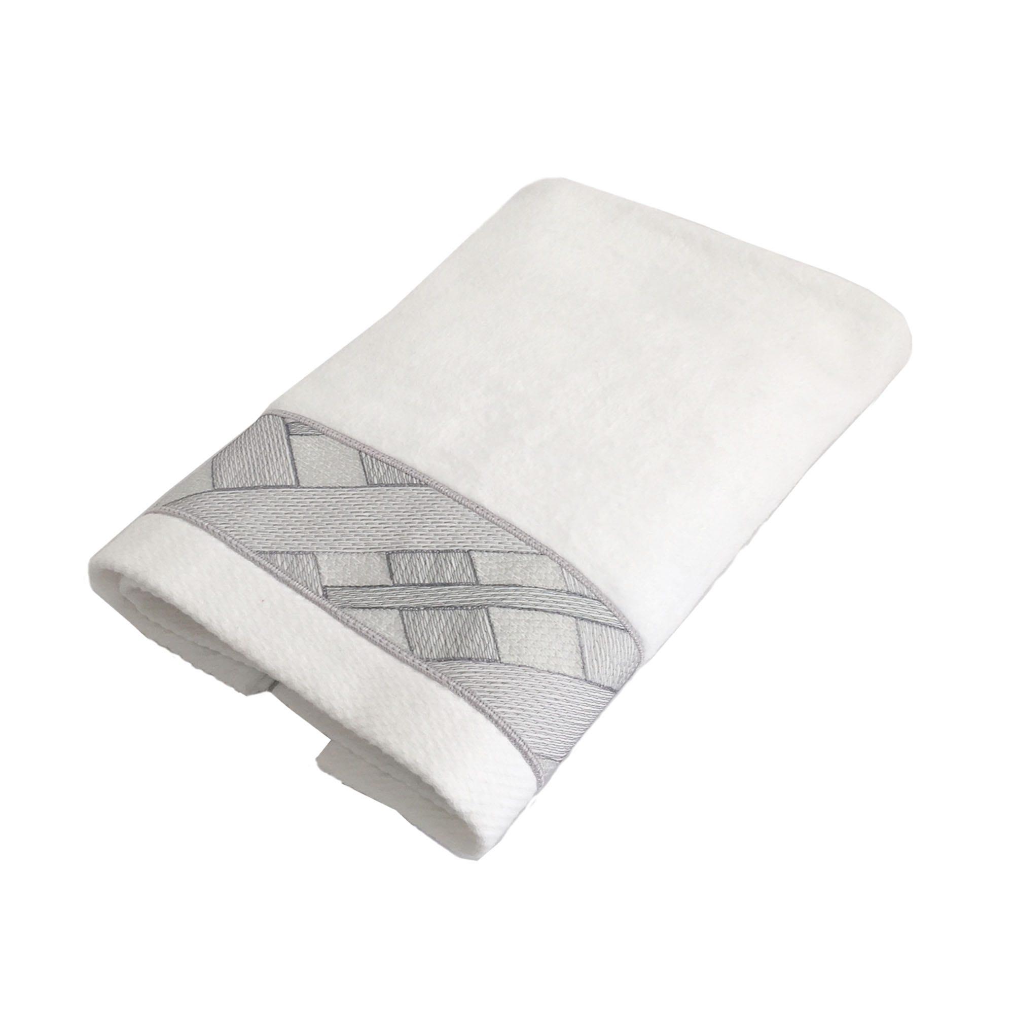 Toalla facial Oslo Calatea con bordado en blanco