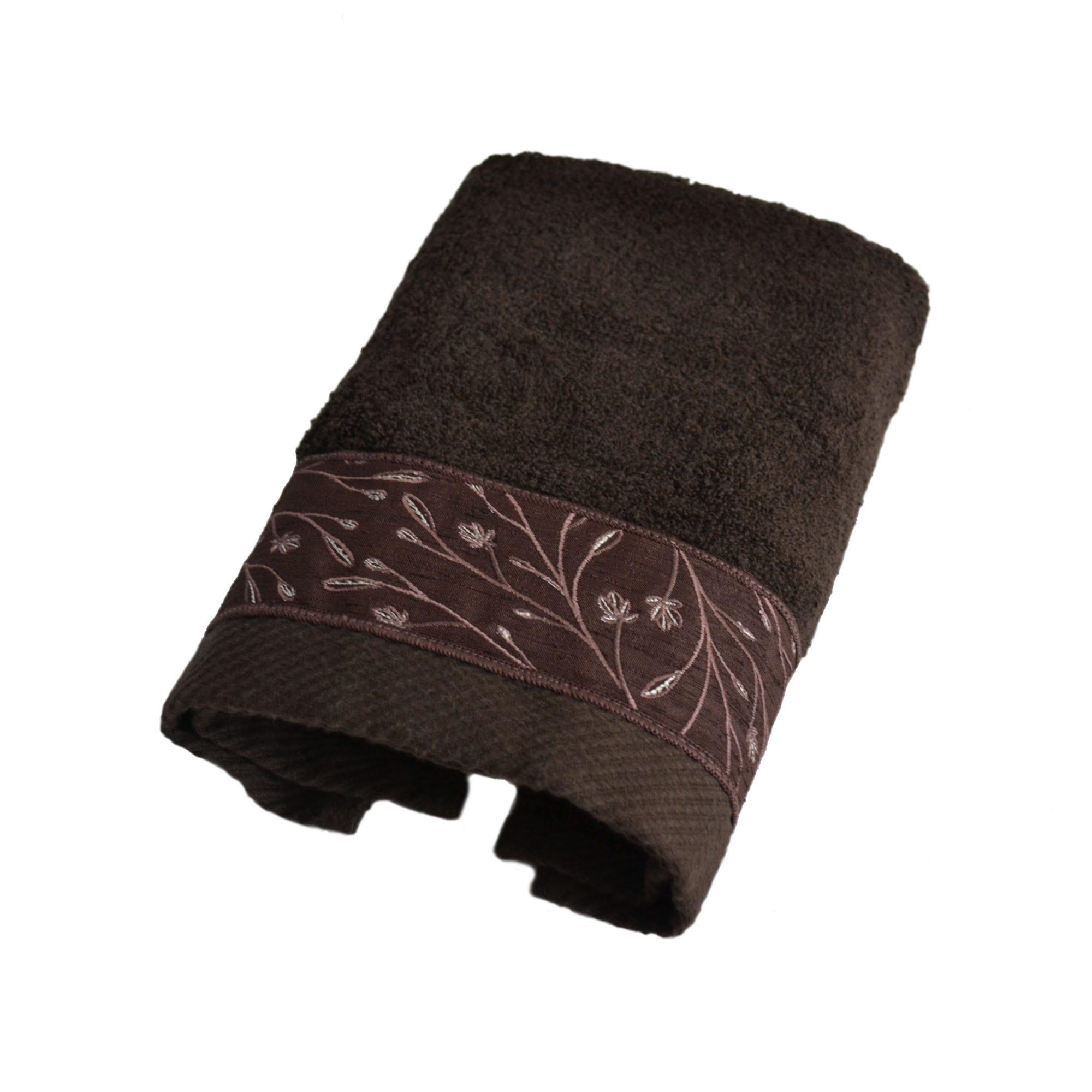 Toalla facial Acan Calatea con bordado en café chocolate