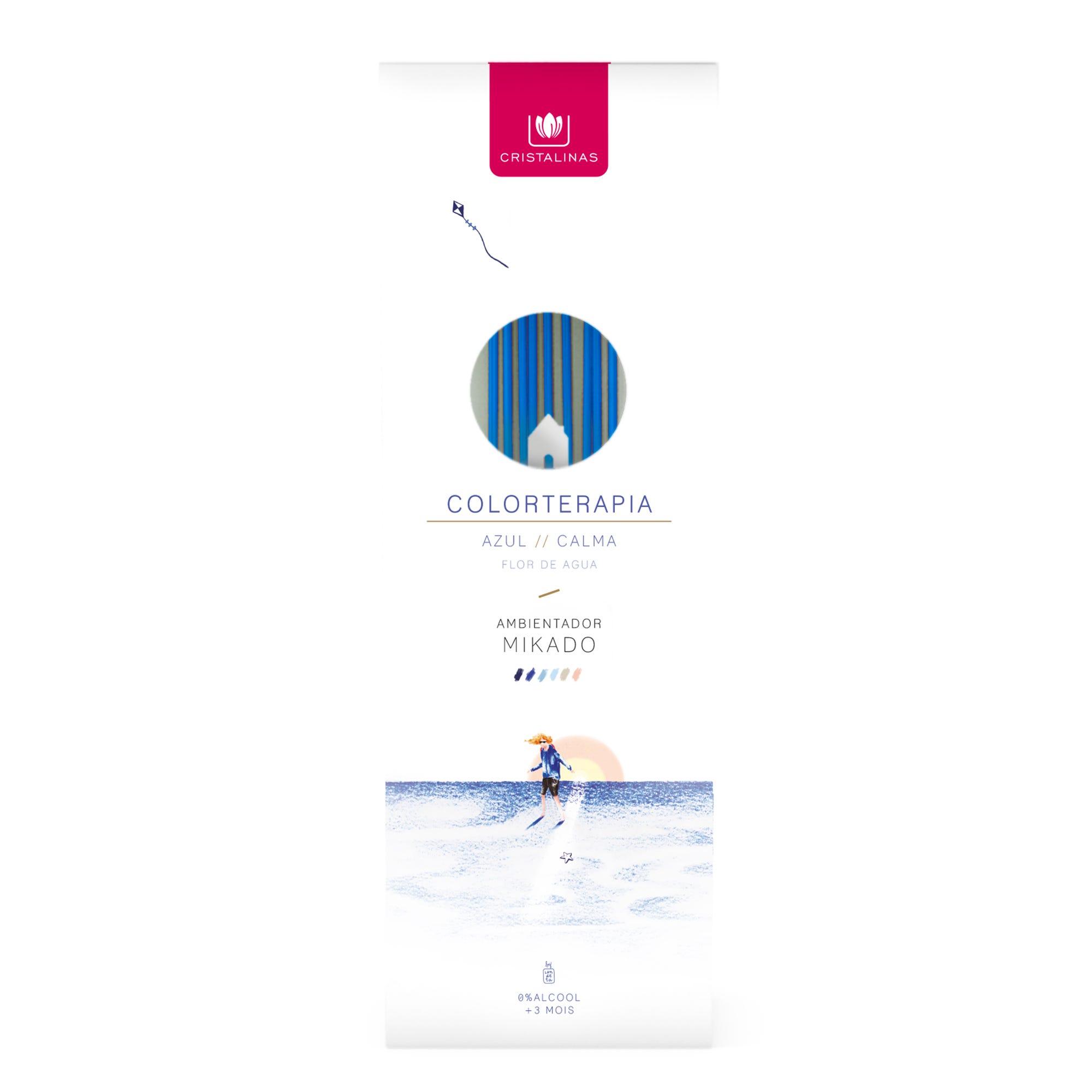 Ambientador mikado Colorterapia Cristalinas aroma azul flor de agua y bergamota, 125 mL