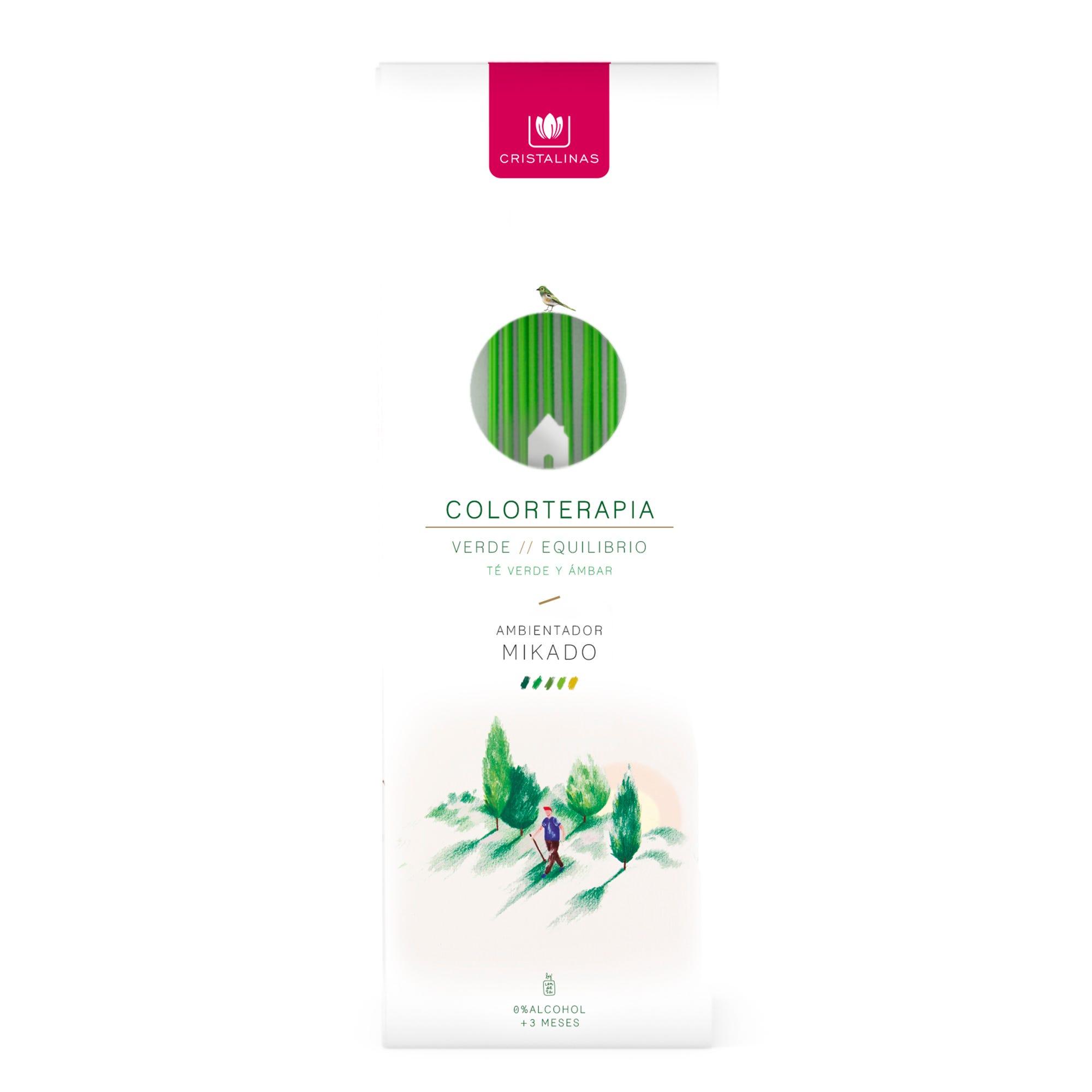 Ambientador mikado Colorterapia Cristalinas aroma muguete y hojas verdes, 125 mL
