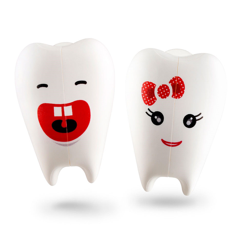Portacepillos de dientes de plástico Flipper® con diseño de muelitas color blanco, Set de 2