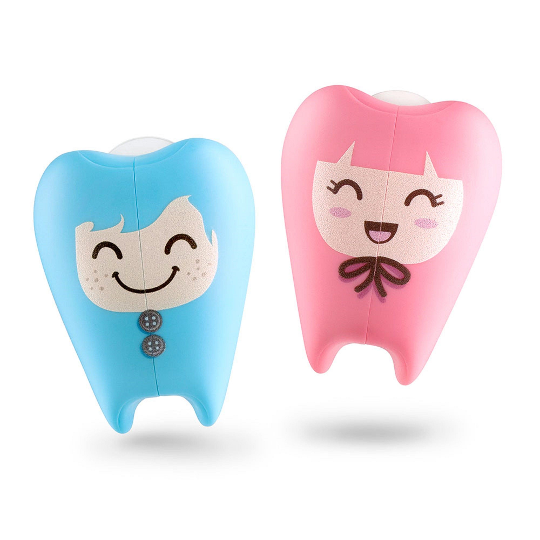 Portacepillo de dientes de plástico Flipper® con diseño de muelitas color azul/rosa, Set de 2